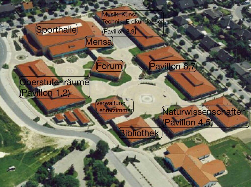 Der Lageplan und die Bezeichnungen der einzelnen Pavillons näher dargestellt.